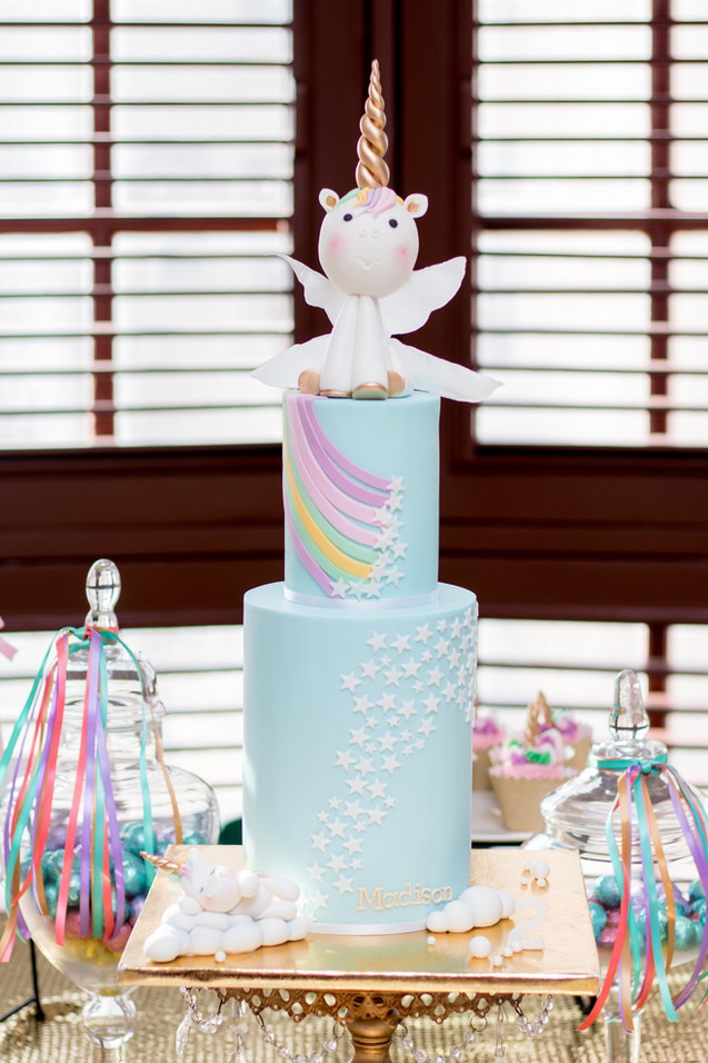 Two Tier Unicorn Birthday Cake with handmade fondant unicorns