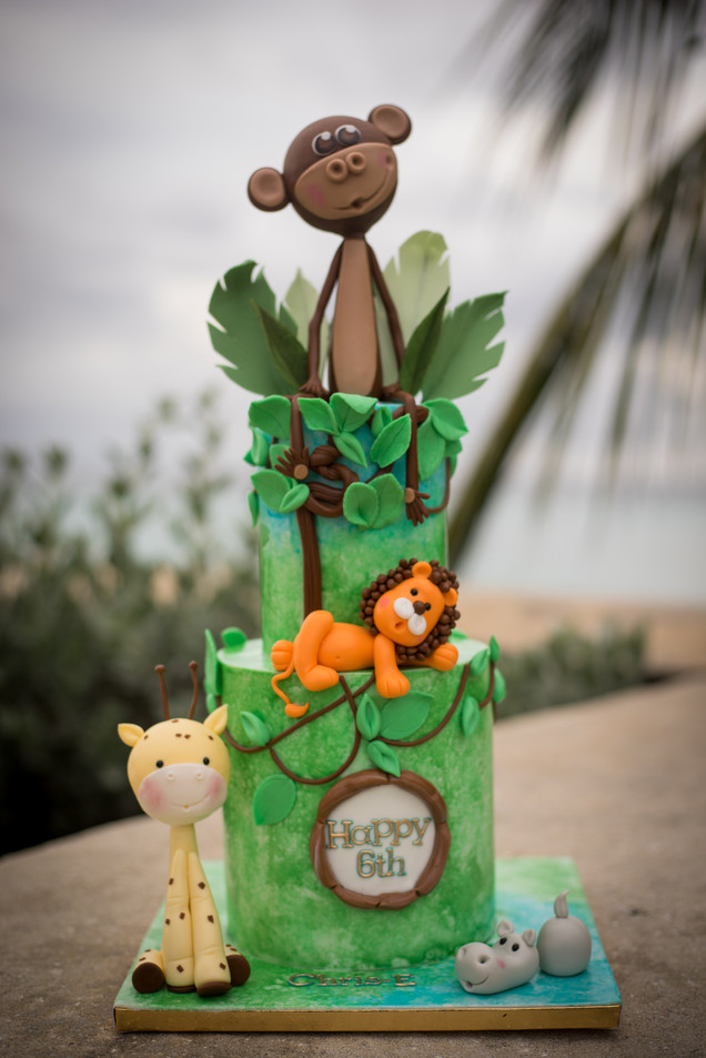 Two Tier Jungle Themed Birthday Cake featuring handmade fondant giraffe, lion, hippo and monkey