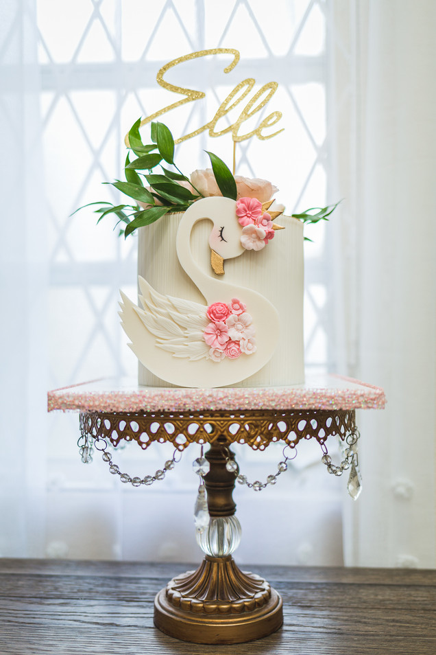 Swan themed birthday cake