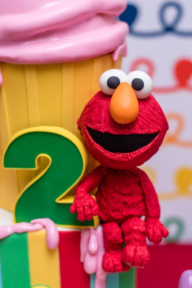 Closeup of Elmo cake