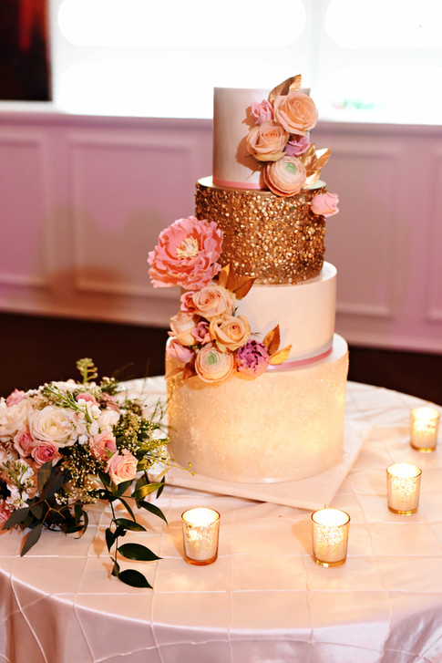 Four Tier Wedding Cake featuring Gold Sequins & White Glitter Finish