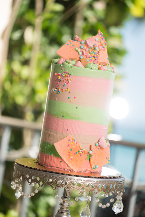 Tall One Tier Buttercream Birthday Cake with Chocolate Chards and Confetti Sprinkles