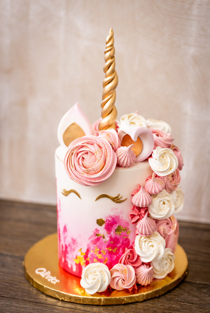 Pink and Gold Unicorn Cake featuring Baked Meringue Cascade.jpg
