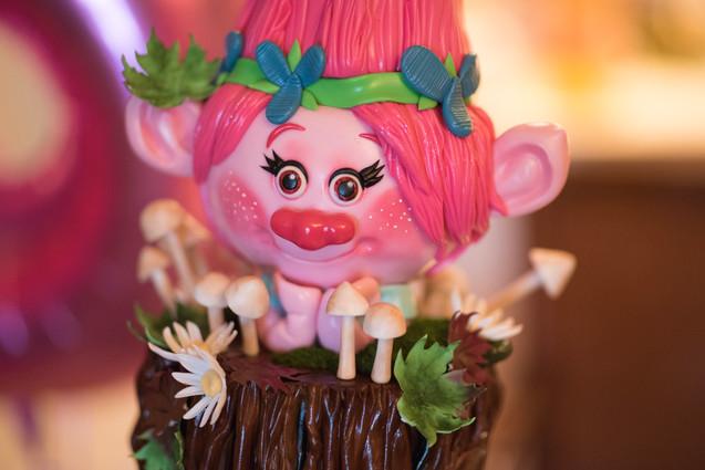 Close Up of Poppy on Trolls Themed Cake