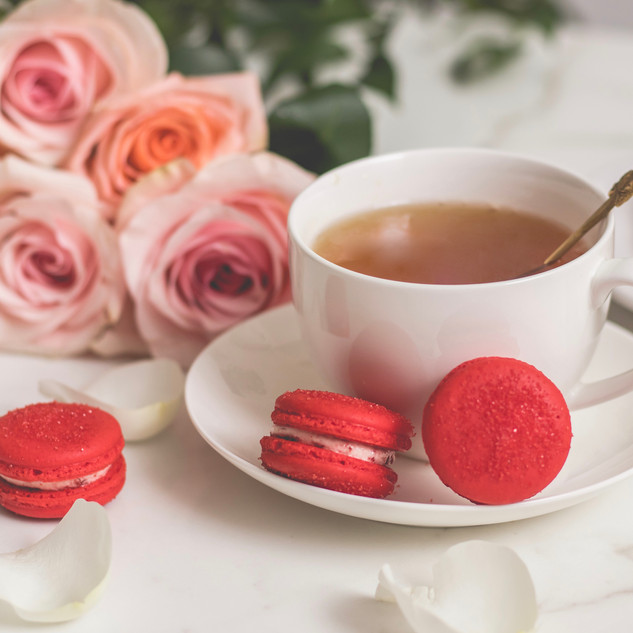 Yummy Red Velvet Macarons sitting pretty at afternoon tea