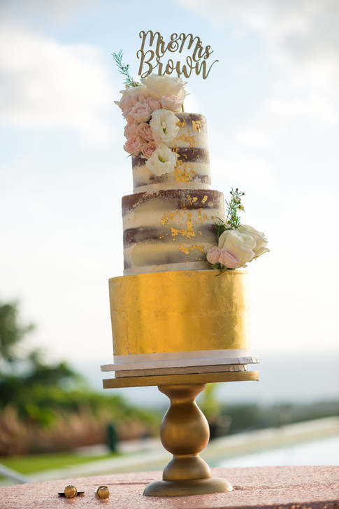 Three Tier Semi-Naked Wedding Cake featuring 24K Gold Leaf and Fresh Flowers