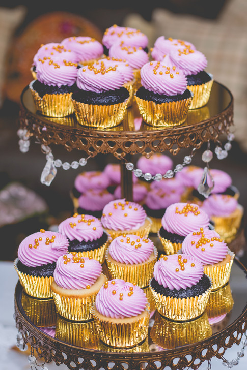 Vanilla & Chocolate Cupcakes topped in luscious Swiss meringue buttercream and gold sugar pearls