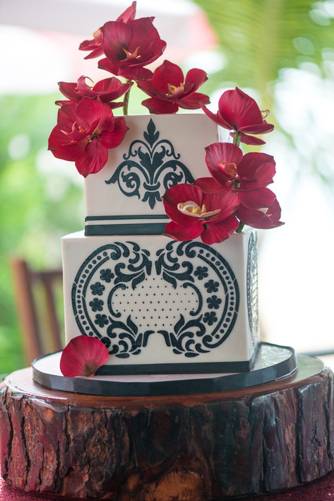 Two Tier Square Wedding Cake featuring Black Stencilling & Gumpaste Red Orchids