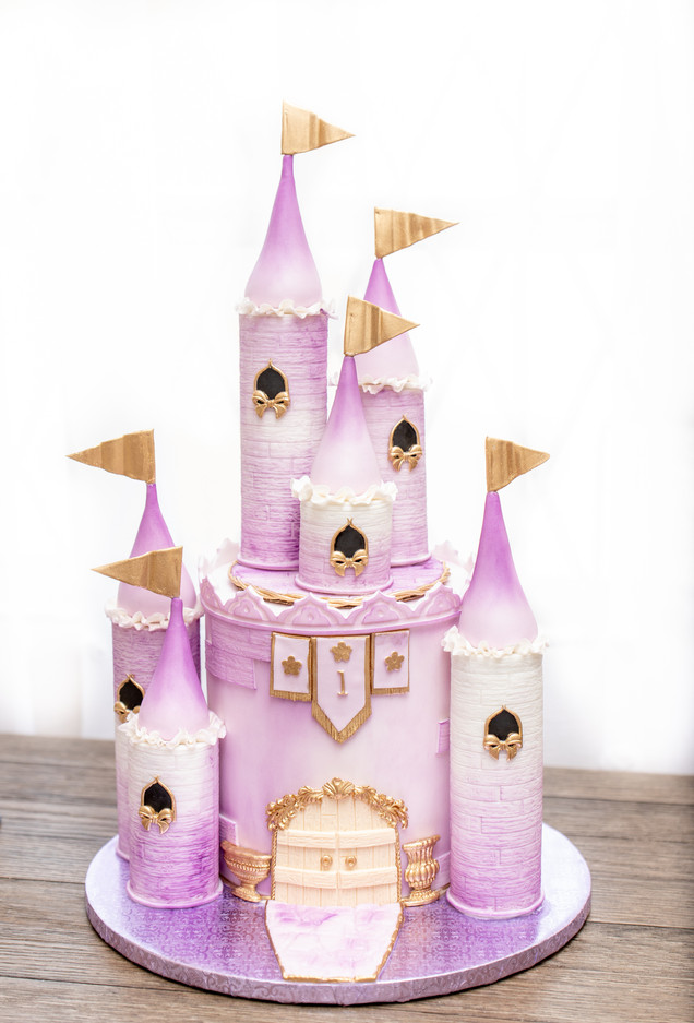 Lilac and gold Castle cake