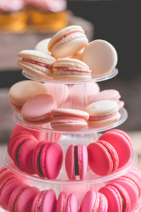 Macaron Tower of pink ombre french macarons