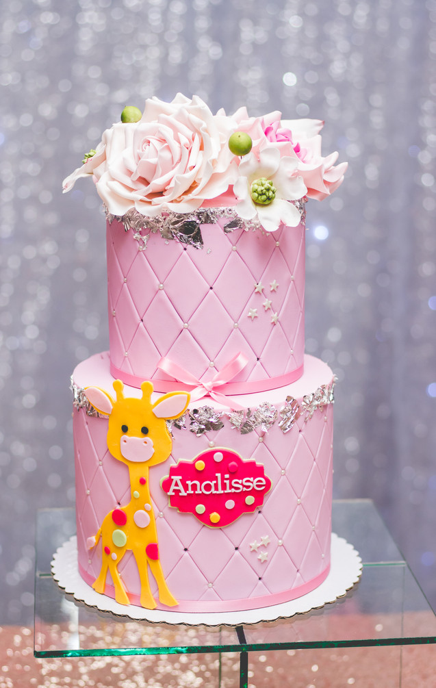 Two Tier Pink Baby Shower Cake with Silver Leaf, Sugar Flowers and Giraffe