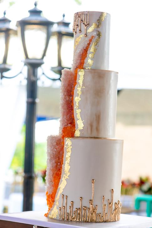 Three Tier Geode Wedding Cake featuring Gold Drips