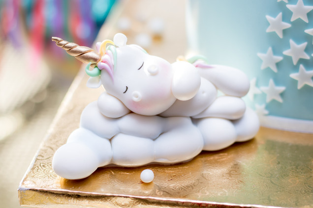 Closeup of Sleeping Unicorn made of Fondant