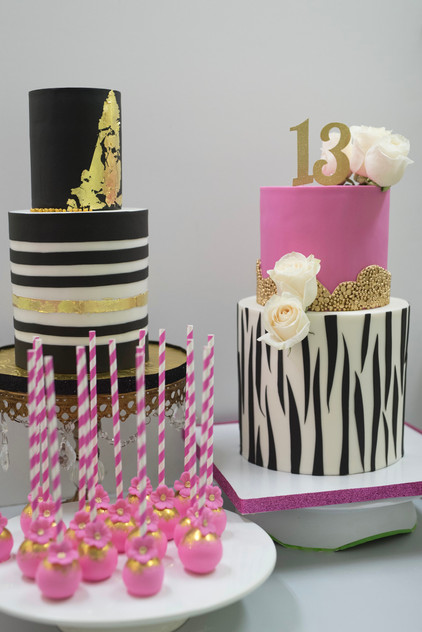 Birthday Trio featuring two tier birthday cakes and cake pops