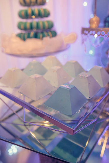 XL, Blue Ombre Chocolate Pyramids embellished with silver leaf