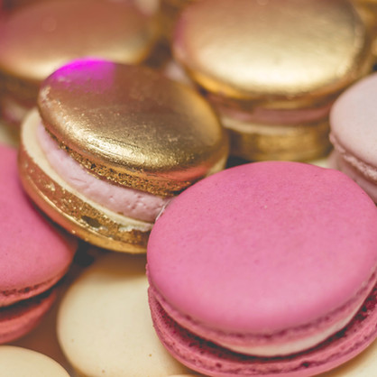 Platter of assorted macarons- gold painted and pink macarons