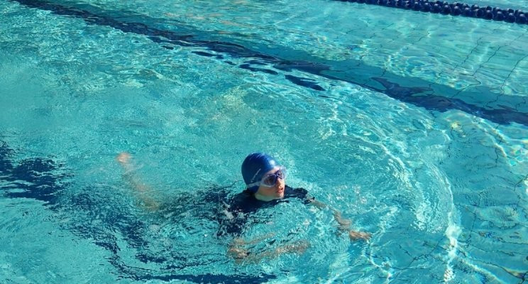 My son practicing his swimming