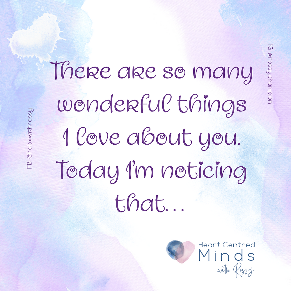 A water colour splotchy image with text saying Thre are so many wwwonderful things I love about you. Today I am noticing that