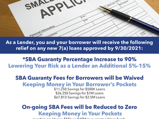 COVID Relief Package Benefits to 7(a) Lending