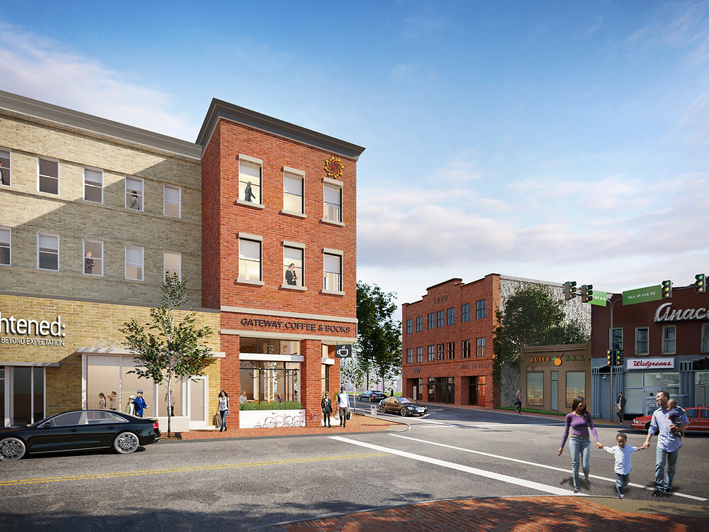 View across Good Hope RD SE, to the future 1909 MLK Jr Ave building.