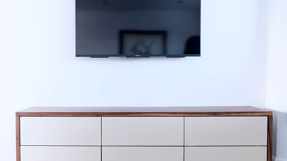 Solid Walnut and High gloss sideboard