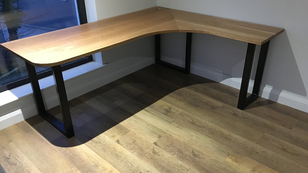 Solid Oak Corner Desk with wooden legs custom order