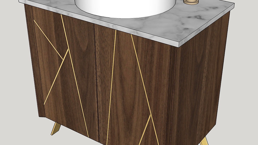 Walnut & Carrera Quartz Bathroom vanity with brass inlay