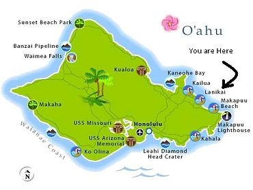 O'ahu map, Hawaii, shopping, museum, activities, Kailua, sports