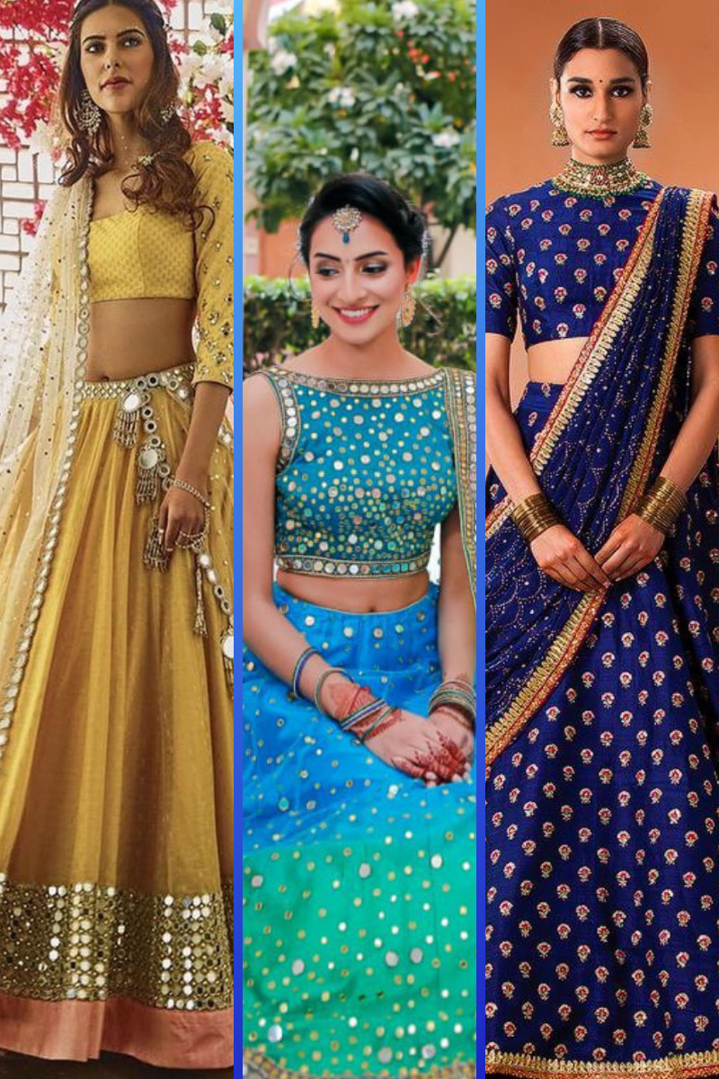 Bridal Colours for Wheatish Skin such as deep yellow, sky blue, midnight blue