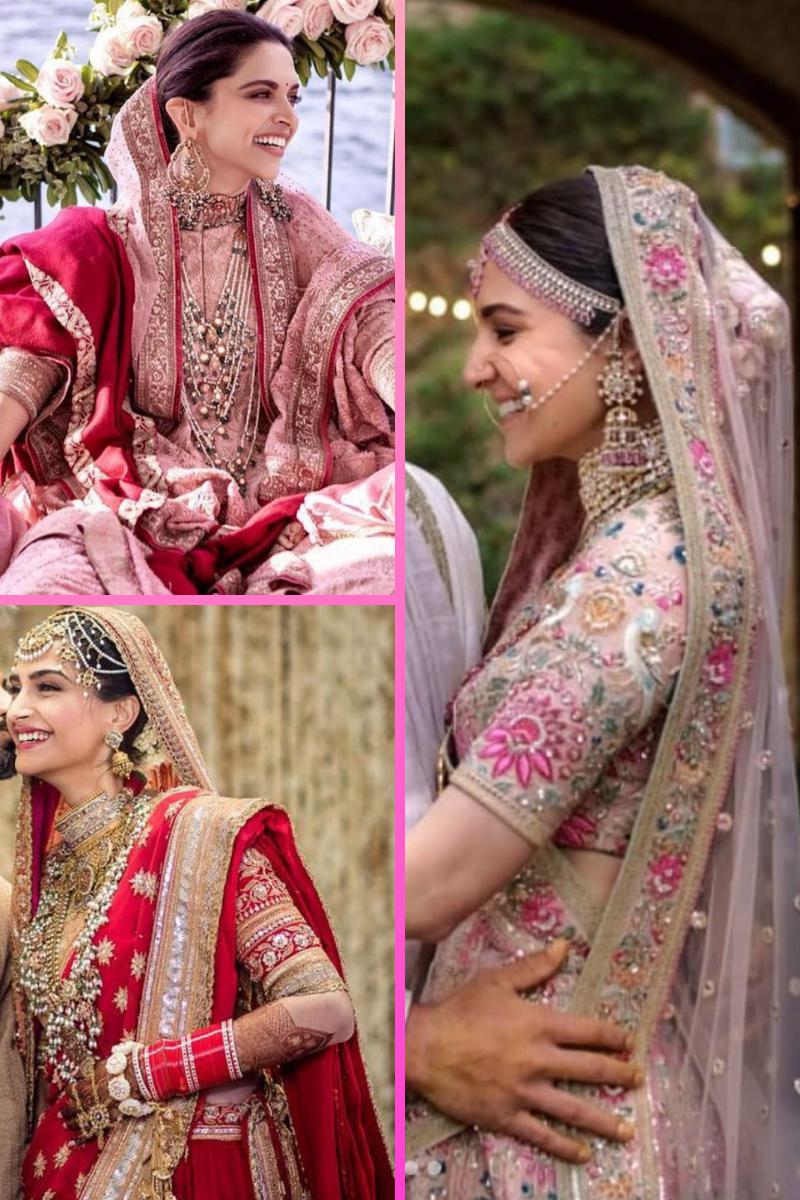 Deepika Padukone, Sonam Kapoor Ahuja, Anushka Sharma Wedding Dresses