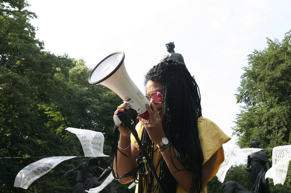 Performance by Nathalie Bikoro  /  Tropical Fever - Letters to my Children  / Otto Von Bismarck statue, Tiergarten, Berlin