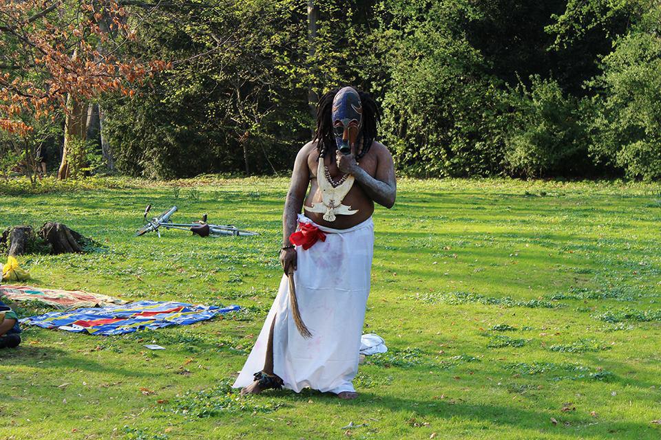 Performance by Christian Etongo  /  Otto Von Bismarck statue, Tiergarten, Berlin