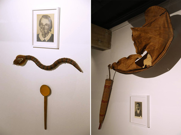 Left: Installation  /  Photography, Tell-remote snake, Wood spoon with Turmeric /  Right: Dry banana leaf, arrow holder,  photography