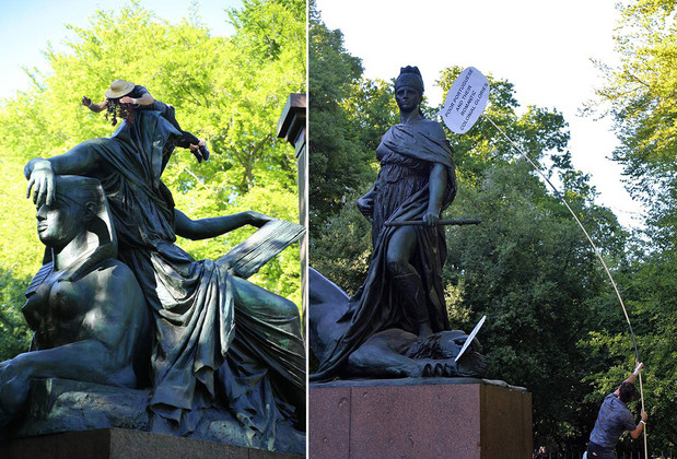 Performance by Marcio Carvalho, Ali Alfatlawi, Wathiq Al Ameri  /  Otto Von Bismarck statue, Tiergarten, Berlin,