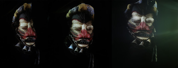 Photography  Triptych :  Picture of Indigenous Mask projected on body surface / Dimensions variable