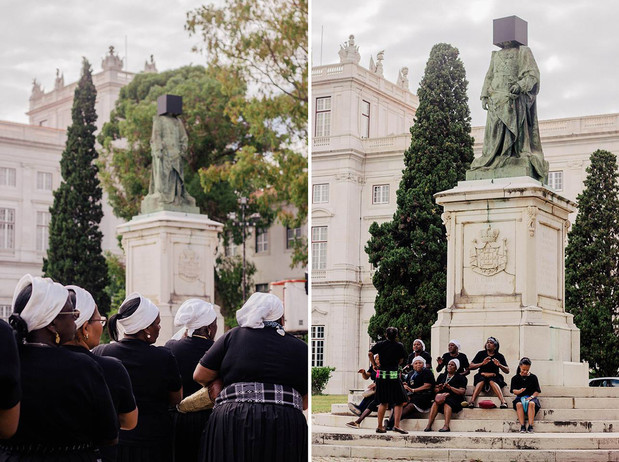 Performance by Kiluanji Kia Henda /   Black Square - Segundo Regicidio  /  King Carlos I Statue, Palacio da Ajuda, Lisbon