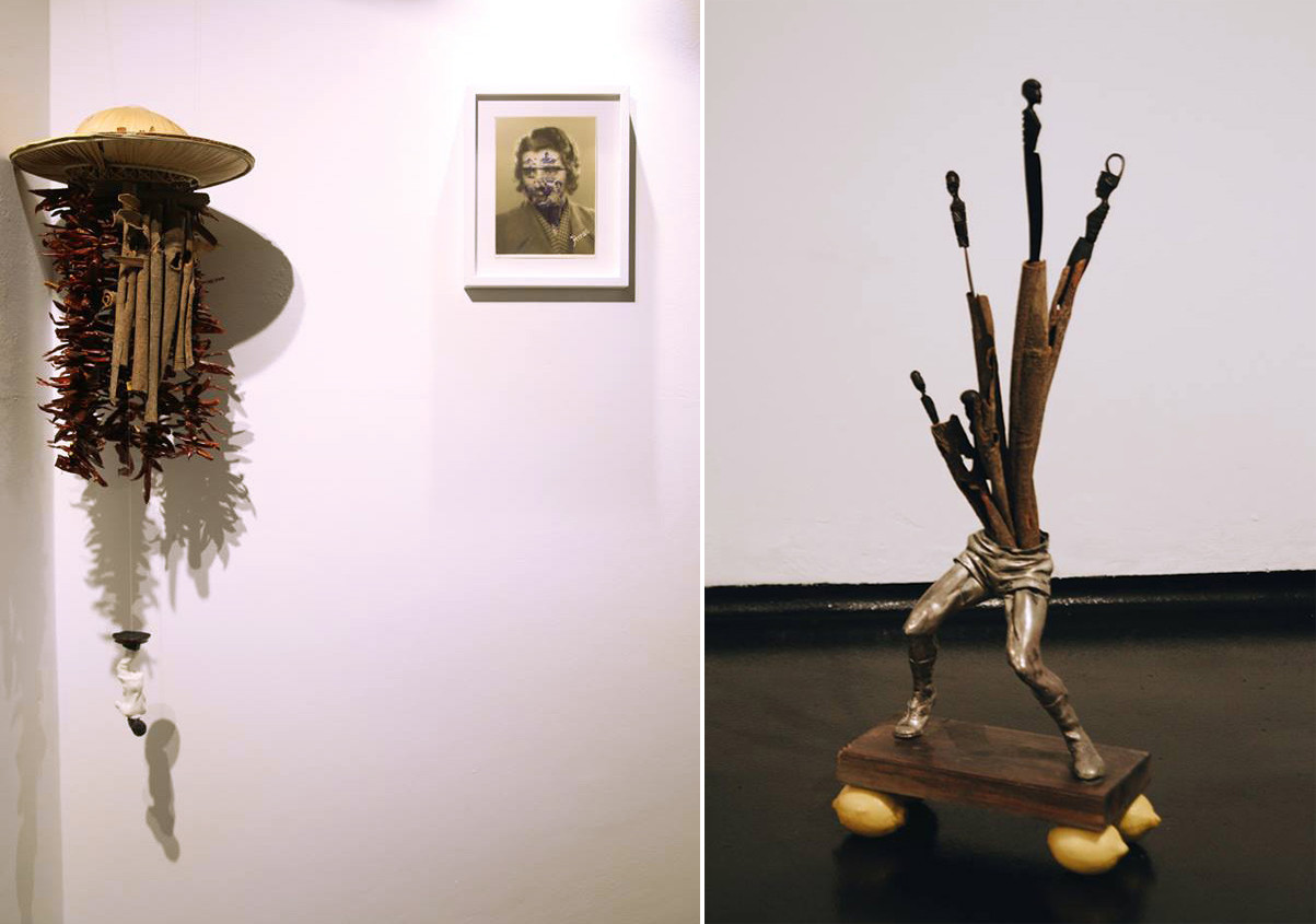 Left: Colonial hat, chili, peppers, cinnamon, small statue  /  Right: metal sculpture, cinnamon, African knifes, lemons