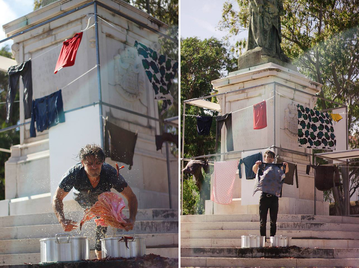 Another Bailout of Memories / Performance by Marcio Carvalho  /   Audio: Courtesy of Elsa Peralta and the exhibition Retornar  /  King Carlos I Statue, Palacio da Ajuda, Lisbon