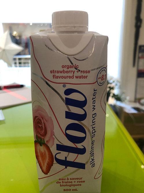 Flow Alkaline Spring Water - Organic Strawberry + Rose Flavoured Water