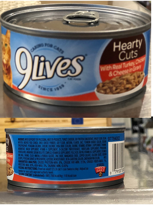9 Lives Cat Food - Hearty Cuts With Real Turkey, Chicken & Cheese in Gravy