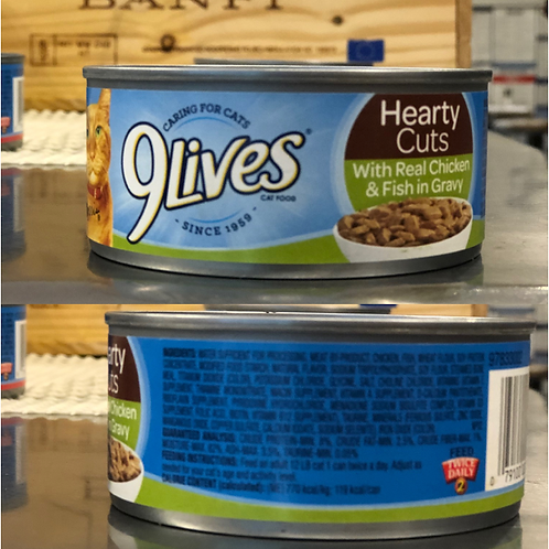 9 Lives Cat Food - Hearty Cuts With Real Chicken & Fish in Gravy