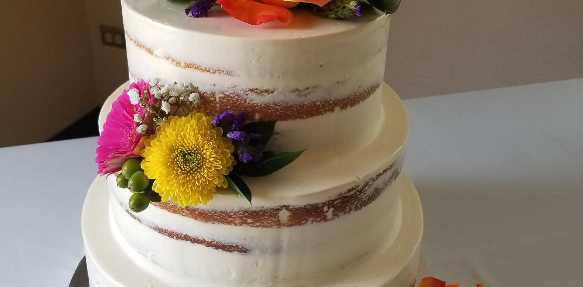 Small 3 tier semi naked cake