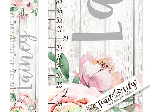 Rustic Peony Pink Floral GROWTH CHART