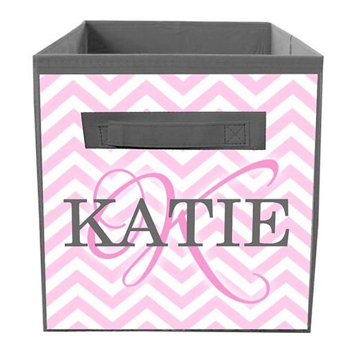 Pink and Gray Chevron FABRIC BIN