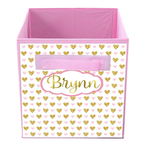 Pink and Gold Hearts FABRIC BIN