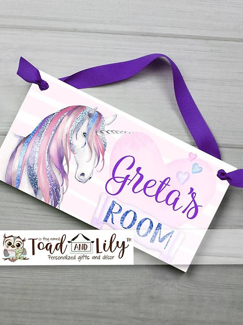 Purple and Blue Glitter Unicorn DOOR SIGN