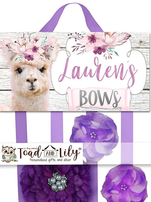 Floral Llama HAIR BOW HOLDER