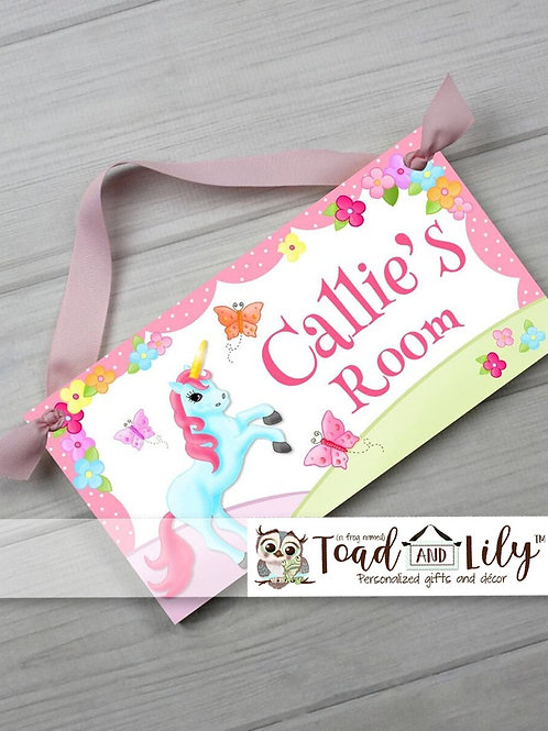 Rainbow Butterfly Unicorn DOOR SIGN