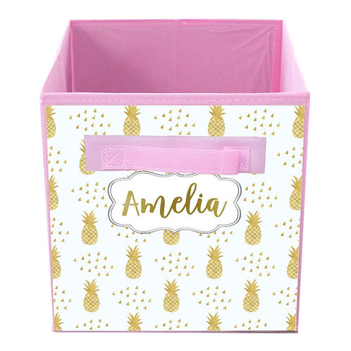 Gold Pineapple FABRIC BIN