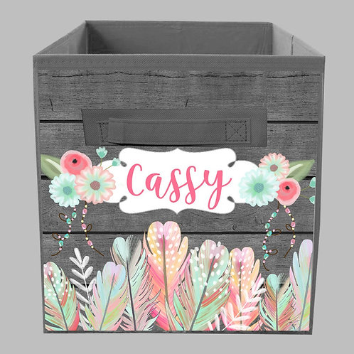 Tribal Floral Feather FABRIC BIN